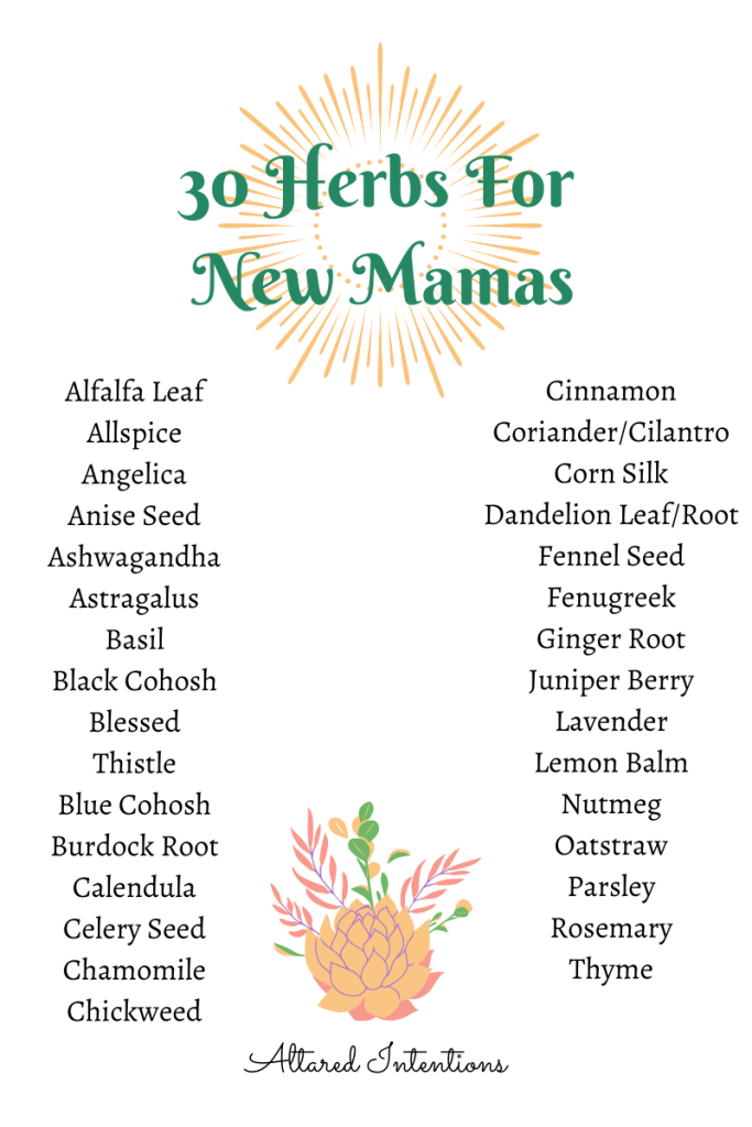 30 Herbs For New Mamas